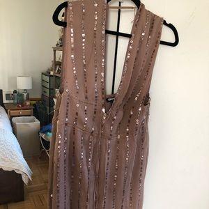 DKNY beige sequin silk cocktail dress, 4, like new